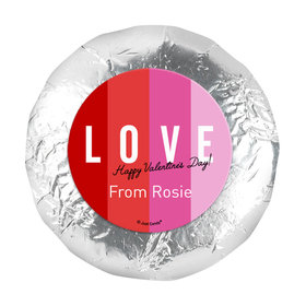 """Personalized Valentine's Day Color Block Love 1.25"""" Stickers (48 Stickers)"""