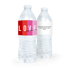 Valentine's Day Color Block Love Water Bottle Sticker Labels (5 Labels)