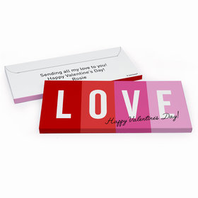 Deluxe Personalized Valentine's Day Color Block Love Chocolate Bar in Gift Box