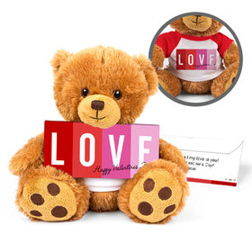 Personalized Valentine's Day Color Block Love Teddy Bear with Belgian Chocolate Bar in Deluxe Gift Box