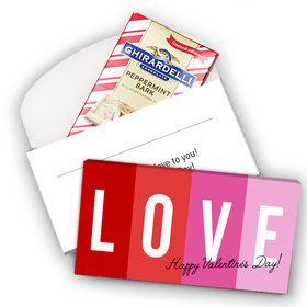 Deluxe Personalized Valentine's Day Color Block Love Ghirardelli Peppermint Bark Bar in Gift Box (3.5oz)