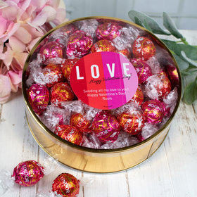 Personalized Valentine's Day Color Block Plastic Gift Tin with Lindor Truffles by Lindt