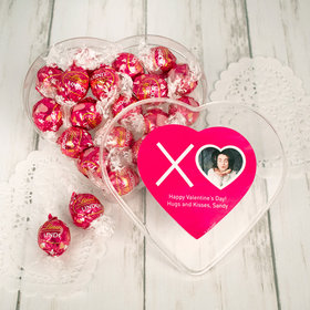 Personalized Valentine's Day Clear Heart Box with Lindor Truffles