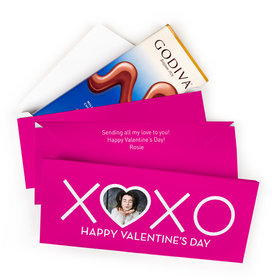 Deluxe Personalized Valentine's Day XOXO Photo Godiva Chocolate Bar in Gift Box (3.1oz)