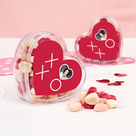 Personalized Valentine's Day XOXO Add Your Photo Assembled Acrylic Heart Container with Jelly Belly Sour Hearts