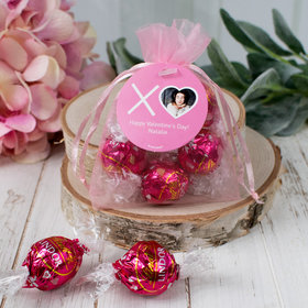 Personalized Valentine's Day XOXO Photo Lindor Truffles by Lindt in Organza Bags with Gift Tag