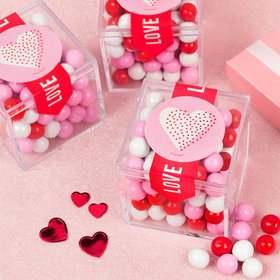 Valentine's Day Dotted Heart Sweet Candy Cube Favors with Chocolate Pearls