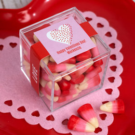 Personalized Valentine's Day Sweet Treats JUST CANDY® favor cube with Candy Corn