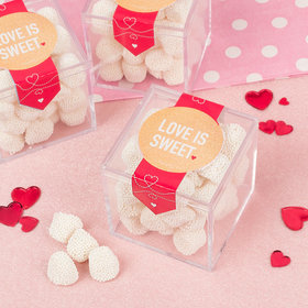 Valentine's Day Intertwined Hearts Sweet Candy Cube Favors with Jelly Belly Champagne Gumdrops