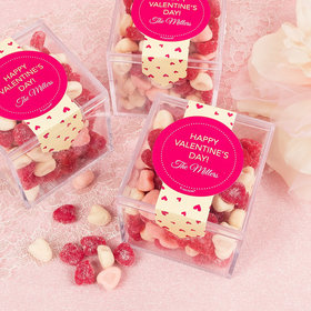 Personalized Valentine's Day Merlot Hearts Sweet Candy Cube Favors with Jelly Belly Sour Hearts
