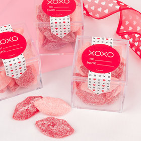 Valentine's Day XOXO To: From: Sweet Candy Cube Favors with Jelly Belly Sour Smoochi Lips