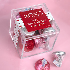 Personalized Valentine's Day XOXO To: From: JUST CANDY® favor cube with Hershey's Kisses