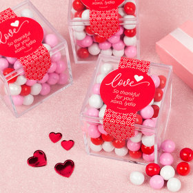Personalized Valentine's Day Row of Hearts Sweet Candy Cube Favors with Chocolate Pearls
