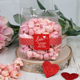 Personalized Valentine's Day Love Heart Candy Coated Popcorn 3.5 oz Bags