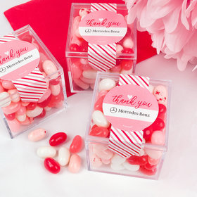 Personalized Valentine's Day Stripes of Passion Add Your Logo Sweet Candy Cube Favors with Jelly Beans