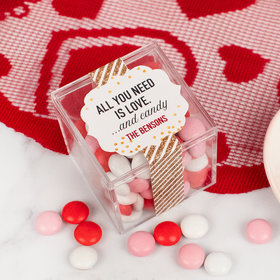 Personalized Valentine's Day JUST CANDY® favor cube with Just Candy Milk Chocolate Minis