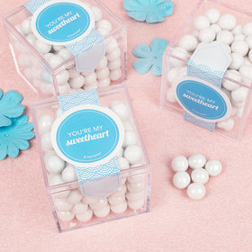 Personalized Valentine's Day Elegant Blue Sweet Candy Cube Favors with Chocolate Pearls