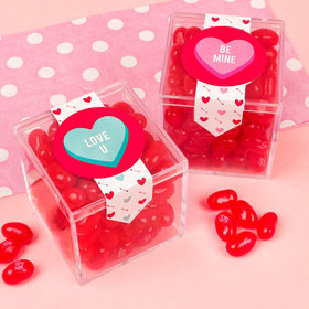 Personalized Valentine's Day Cutesy Conversation Hearts Sweet Candy Cube Favors with Jelly Beans