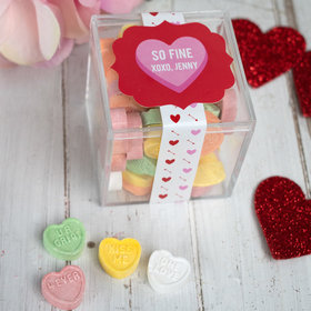 Personalized Valentine's Day JUST CANDY® favor cube with Conversation Hearts