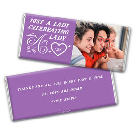 Personalized Valentine's Day A Lady Celebrating a Lady Chocolate Bar Wrappers Only