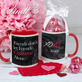 Personalized Friends Don't Let Friends Galentine Alone 11oz Mug with Lindt Truffles