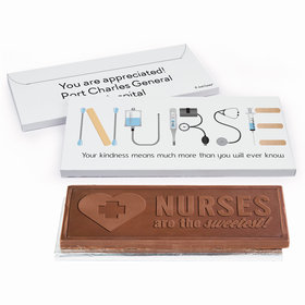 Deluxe Personalized Nurse Appreciation First Aid Embossed Chocolate Bar in Gift Box