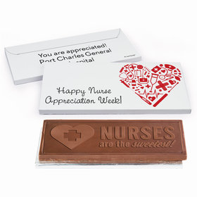 Deluxe Personalized Nurse Appreciation Medical Heart Embossed Chocolate Bar in Gift Box