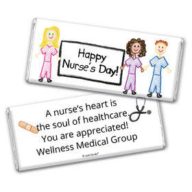 Nurse Appreciation Personalized Chocolate Bar Multicultural Scrubs