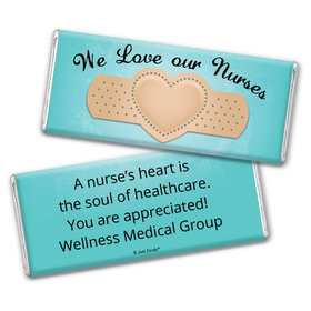 Nurse Appreciation Personalized Chocolate Bar Wrappers Bandage Heart