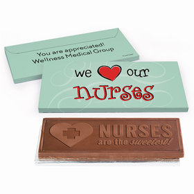 Deluxe Personalized Nurse Appreciation Hearts Embossed Chocolate Bar in Gift Box