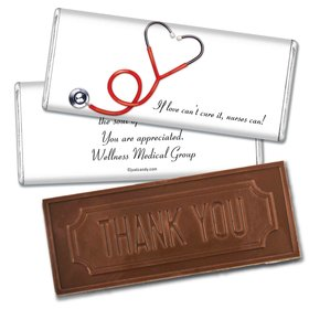 Heart Stethoscope Personalized Embossed Chocolate Bar Heart Stethoscope