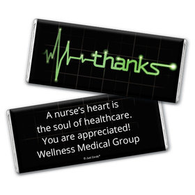 Nurse Appreciation Personalized Chocolate Bar Wrappers Heartbeat of Thanks