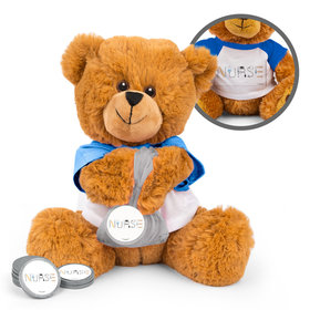 Personalized Nurse Appreciation First Aid Teddy Bear with Chocolate Coins in XS Organza Bag