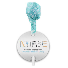 Personalized Nurse Appreciation First Aid Dum Dums with Gift Tag (75 pops)