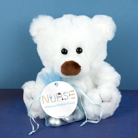 Personalized Nurse Appreciation First Aid White Teddy Bear and Organza Bag with Hershey's Kisses