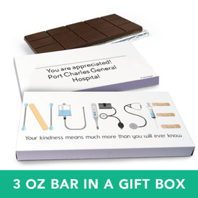 Deluxe Personalized Nurse Appreciation First Aid Belgian Chocolate Bar in Gift Box (3oz Bar)