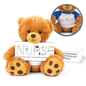 Personalized Nurse Appreciation First Aid Teddy Bear with Embossed Chocolate Bar in Deluxe Gift Box