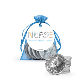 Personalized Nurse Appreciation First Aid Milk Chocolate Coins in Organza Bags with Gift Tag