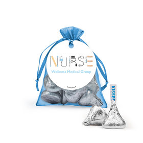 Personalized Nurse Appreciation First Aid Hershey's Kisses in Organza Bags with Gift Tag