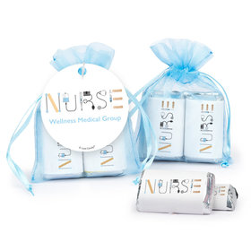 Personalized Nurse Appreciation First Aid Hershey's Miniatures in Organza Bags with Gift Tag