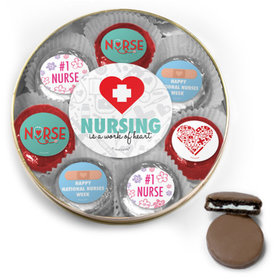Nurse Appreciation Chocolate Covered Oreo Cookies Large Gold Plastic Tin