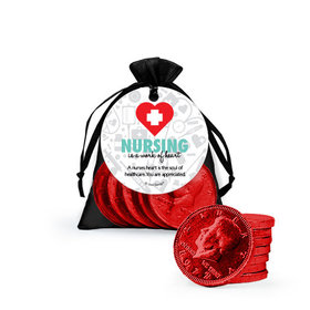 Personalized Nurse Appreciation Work of Heart Milk Chocolate Coins in Organza Bags with Gift Tag