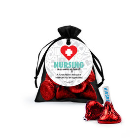 Personalized Nurse Appreciation Work of Heart Hershey's Kisses in Organza Bags with Gift Tag