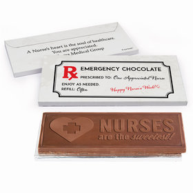 Deluxe Personalized Nurse Appreciation Emergency Embossed Chocolate Bar in Gift Box