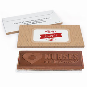 Deluxe Personalized Nurse Appreciation Happy Nurses Day Embossed Chocolate Bar in Gift Box