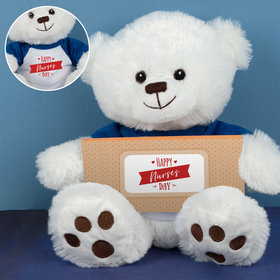 Personalized Nurse Appreciation Happy Nurses Day Teddy Bear with Embossed Chocolate Bar in Deluxe Gift Box
