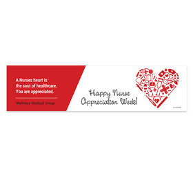 Personalized Nurse Appreciation First Aid Heart 5 Ft. Banner