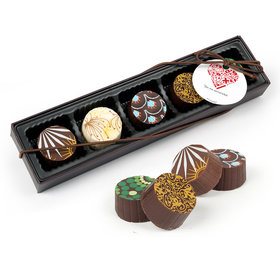 Personalized Nurse Appreciation Medical Heart Gourmet Chocolate Truffle Gift Box (5 Truffles)