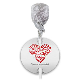 Personalized Nurse Appreciation Medical Heart Dum Dums with Gift Tag (75 pops)