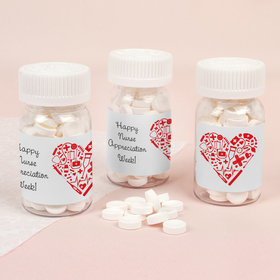 Nurse Appreciation Medical Heart Pill Bottle with Smarties Candies